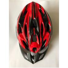 Шлем красно-черный с козырьком Вело